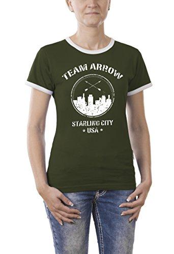 Touchlines Damen T-Shirt Team Arrow Kontrast, Grün (Khaki 06), Large - Arrow Khaki