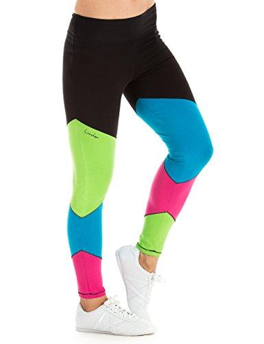 ingshose Fitness Freizeit Sport Long Tights Leggings, Rainbow, M, WTL12 (Regenbogen-farbige Leggings)