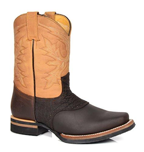 House of Luggage Herren Echtleder Cowboy Stiefel Blockabsatz überstreifen Quadrat Zehe Western Schuhe HLG08FRH Braun (EU 43) (Cowboy-western-stiefel Zehen)