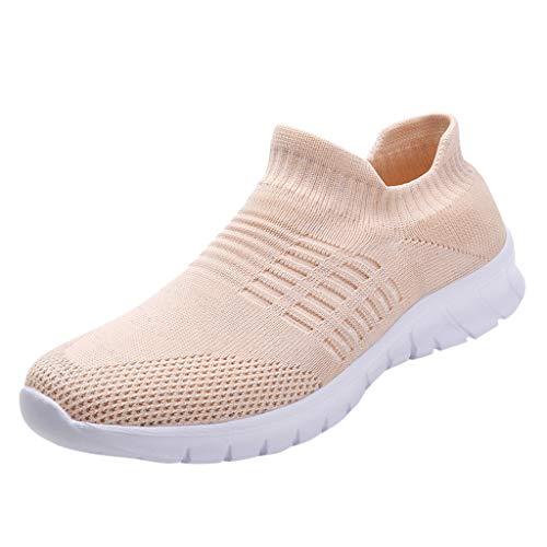 Preisvergleich Produktbild Damen Sportschuhe Slip Ons Strick Freizeitschuhe Sneakers Laufschuhe Weiche Turnschuhe Atmungsaktiv Outdoor Schuhe Wanderschuhe Walkingschuhe (EU:36,  Rosa)