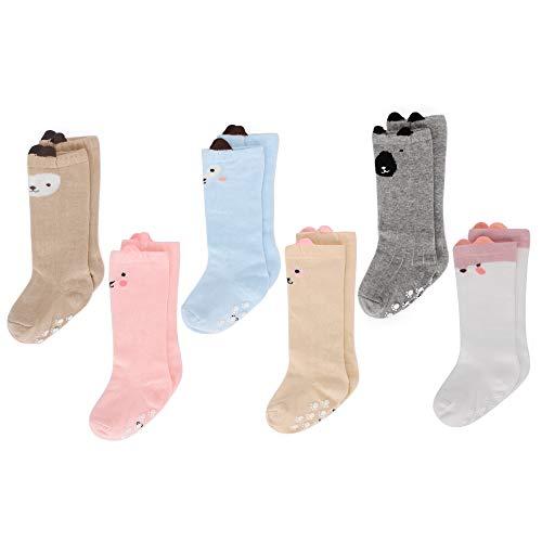 LACOFIA 6 Paar Unisex Baby Rutschfest Kniehohe Lange Socken Kleinkind Mädchen Baumwolle Kniestrümpfe 1-3 Jahre