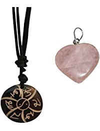 Divya Mantra Feng Shui Combo Of Rose Quartz Heart Pendant And Tibetan Om Mani Padme Hum Mantra Pendant Necklace