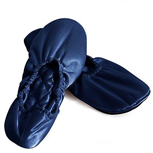 Pantofole In Seta Di Gelso 100% Ellesilk Per La Casa / Da Viaggio, Scarpette Di Seta Per Le Scarpe Degli Ospiti Chiuse Per Donna E Uomo, 25 Momme Seta Naturale Di Alta Qualità, Coccolose, Lavabili In Lavatrice Blu Navy