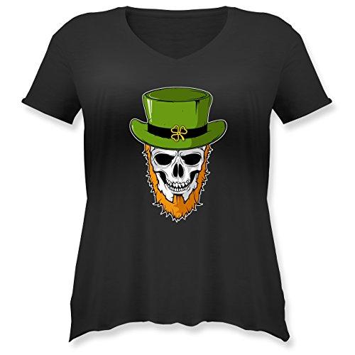 St. Patricks Day - St. Patricks Day - Totenkopf - L (48) - Schwarz - JHK603 - Weit geschnittenes Damen Shirt in großen Größen mit ()