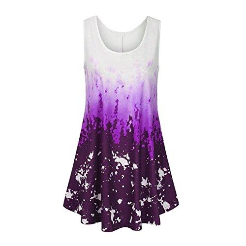 ESAILQ Damen Modisch Damen Shirt Kurzarm Revers Schlank Hemd Arbeit V-Ausschnitt mit Knöpfe(S,Lila)