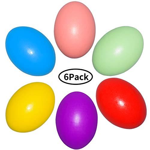 Intvn uova di legno uova di pasqua colori assortiti falso simulazione uova gioco cucina cibo giocattolo diy pittura graffiti giocattolo per bambini, 6 pezzi