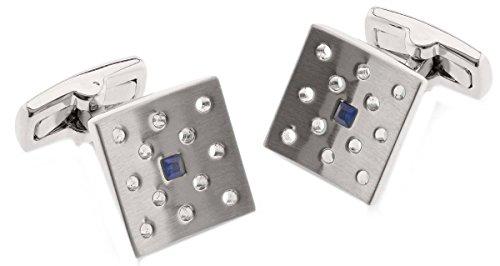Blu / argento Huxley zaffiro spazzolato placcato Rhodium Piazza Gemelli di Duncan Walton - Blu Placcato Gemelli
