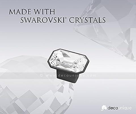 Swarovski Clear Crystal Pull Knob, 1.57 inch by 1.22 inch, Satin Black, 733 L SB C (Satin Gold Sb)