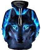 Ocean Plus Jungen 3D Kapuzenpullover Spaß Sweatshirt Hoodie mit Kängurutasche Sportlich Digitaldruck Pullover mit Kapuze (XL (Körpergröße: 135-145cm), Blauäugiger schwarzer Wolf)