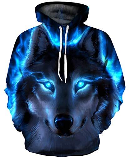 Ocean Plus Jungen 3D Kapuzenpullover Spaß Sweatshirt Hoodie mit Kängurutasche Sportlich Digitaldruck Pullover mit Kapuze (L (Körpergröße: 125-135cm), Blauäugiger schwarzer Wolf) (Skelett Pullover Für Jungen)