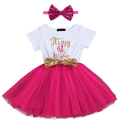 OwlFay Baby Mädchen Es ist Mein 1. / 2. Geburtstag Kleid Pailletten Schleife Prinzessin Tütü Kleid mit Stirnband Geburtstag Party Outfit Bekleidungsset Fotoshooting Kostüm 2 Stücke Rose - 1 Jahr