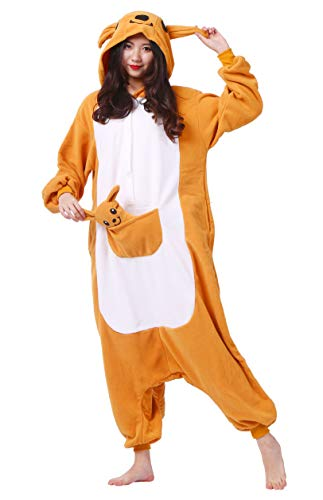 YarBar Tier Onesies Karneval Halloween Kostüm Nachtwäsche Cosplay Pyjama Erwachsene Unisex Kigurumi Jumpsuit (L (für Höhe 164-174CM), Känguru)