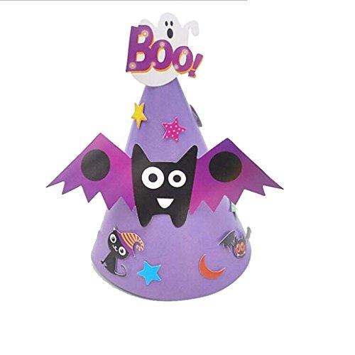 Hut Hexe Federn Schwarz (Hot Baby DIY Halloween Karton Hut Transer® Unisex Mode-Hexe-Hut Halloween Ornament Hat für Parteien Karneval Höhe: 30cm)