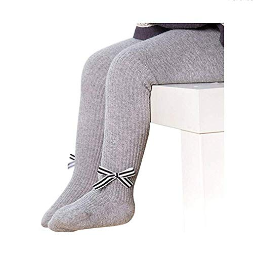 Missoul Baby Cotton Tights Kids Socks Pants Girl Leggings Stocking Winter Socks Pantyhose (Bowknot-gray) Dyeables Slingback