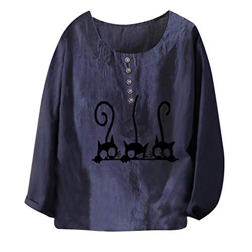 AIFGR Blusen Damen, Langärmliges Top mit Rundhalsausschnitt und Katzendruck Mode Bluse Damen Übergröße T-Shirt Baumwolle und Leinen O-Ausschnitt Applikationen Kurzarm Tops Kurzarmshirt