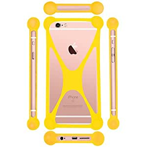 Casotec Universal Silicone Bumper Frame Soft Gel Phone Case Cover for Vivo Y28 - Yellow