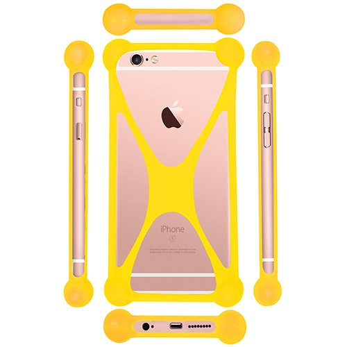 Casotec Universal Silicone Bumper Frame Soft Gel Phone Case Cover for Nokia Lumia 1520 - Yellow  available at amazon for Rs.149