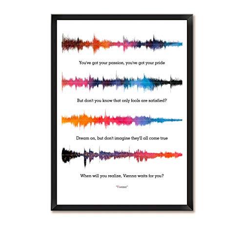LAB NO 4 Billy Joel Vienna Song Soundwave Lyrics Music Framed Poster (Paper, A3 (11.7