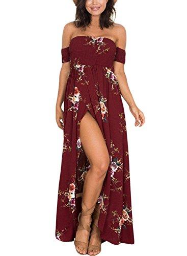 Happy Sailed Ladies Smoked Off Shoulder Boho Floral Print Slit Maxi Dress