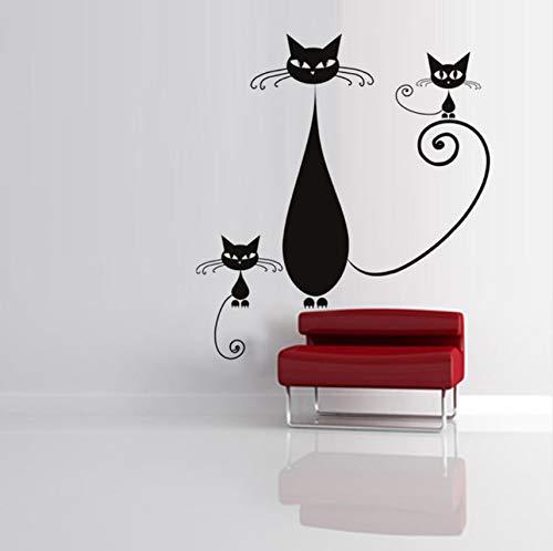 Lvabc Home Decor Abnehmbare Vinyl Siam Katze Mutter Und Kätzchen Wandaufkleber Wohnzimmer Sofa Hintergrund 59X65 Cm -