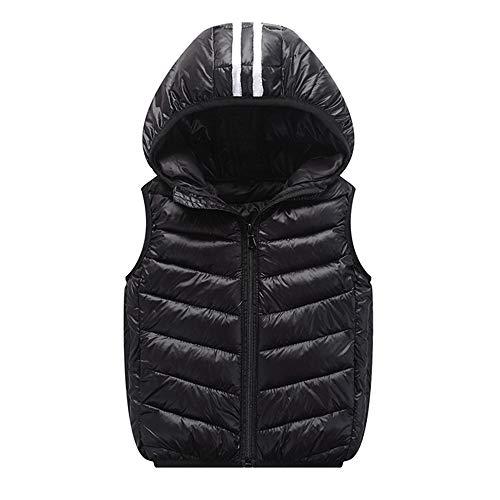 XXYsm Kinder Westen Baby Mäntel Winter Jacke Mädchen Jungen Warme Weste Dicke Hoodie Oberbekleidung Schwarz ❤110/2-3 Jahre