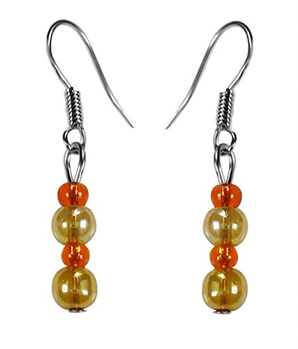 CRYSTAL & BEADS Gold Colour Round Crystal & Orange Colour Crystal Earring