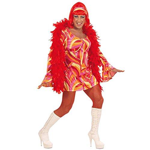 NET TOYS Travestie Kostüm Travestiekostüm Männerkleid orange Drag Queen 70er Kleid Männer Fasching Karneval