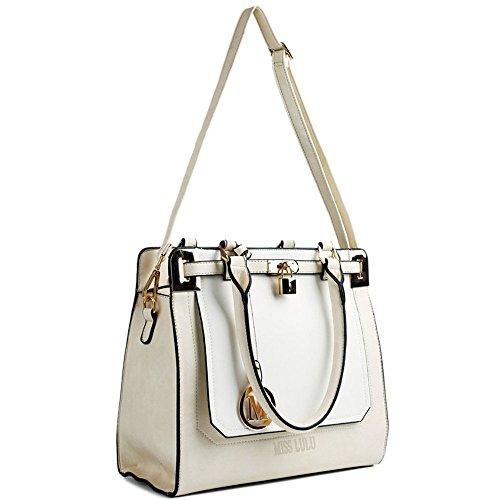 Tragetasche/Handtasche/Umhängetasche für Damen, Leder-Design Beige/Weiß