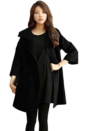 Mantel - SODIAL(R)Damen Schlank Asymmetrisch Schoesschen Saum Revers Mantel schwarz XXL