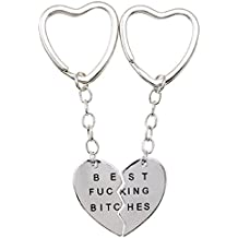 "'pcbfb02Juego de 2llaveros con colgante corazón partido a meta' con texto ""Best Fucking Bitches Idea regalo para hombre Mujer"