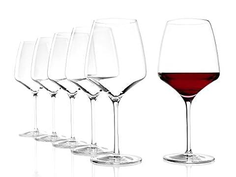 Stölzle Lausitz Burgundy Red Wine Glasses Experience 695 ml, set of 6, dishwasher proof, pulled stem