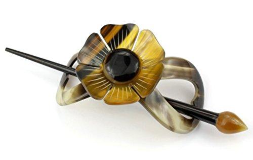 Barrette à cheveux en véritable corne - Modèle Lotus et Feuille gravés