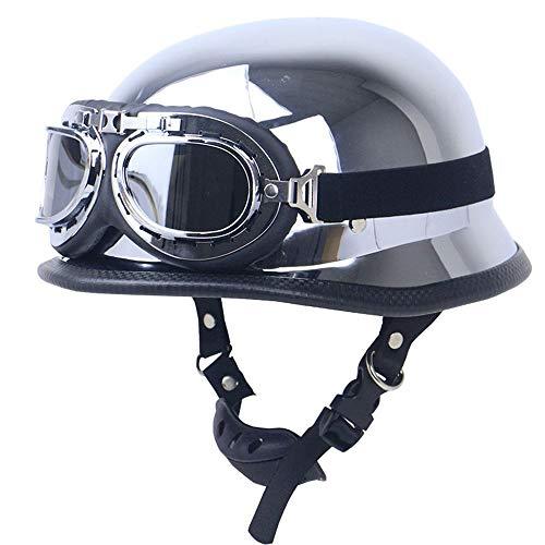 ZXF ABS Galvanik Silber Harley Helm Männer Und Frauen Spiegel Retro Motorrad Helm Motorrad Outdoor Sports Reiten Halbe Helm Mit Brille Sicherheit (Size : L)