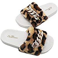 LITTHING Autumn and Winter Slippers Leopard Fur Interior is Non-Slip Warm