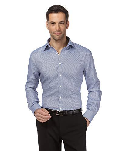 Vincenzo Boretti Herren-Hemd bügelfrei 100% Baumwolle Slim-fit tailliert Gemustert New-Kent Kragen - Männer lang-arm Hemden für Anzug Krawatte Business Freizeit hellblau 41/42
