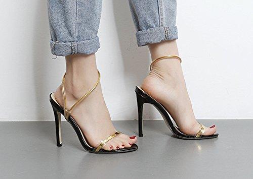 Aisun Damen Modern Metallic Transparent Knöchelriemchen Stiletto Offene Sandalen Gold