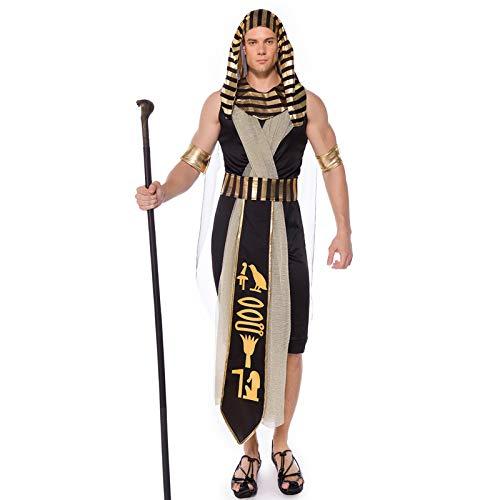 Männer Kostüm Alte Ägyptische - COSOER Alten ägyptischen Monarchen König Cosplay Kostüm Pharao Amon-La Gott Sohn Mama Halloween Party Kleidung Für Erwachsene Männer,M