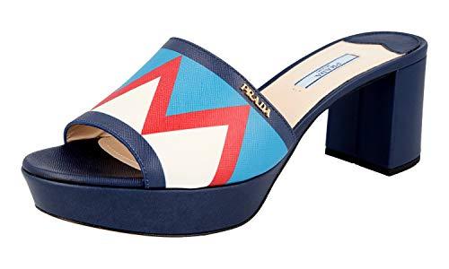 Prada 1XP933 ZLH F0DWB Damen-Sandalen aus Saffianleder, Baltico Celeste - Größe: 40 EU