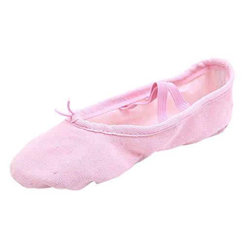 COZOCO Damen Einfarbig Segeltuchschuhe MäDchen Tanzschuhe FüR Ballett, Zehen Tanzen, Fitness Und Fitnessraum(Rosa,38 EU)