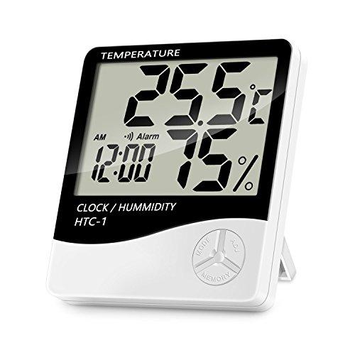 Lanhiem Termómetro Higrómetro Digital - Interior Termohigrómetro con Gran LCD Pantalla, Función...