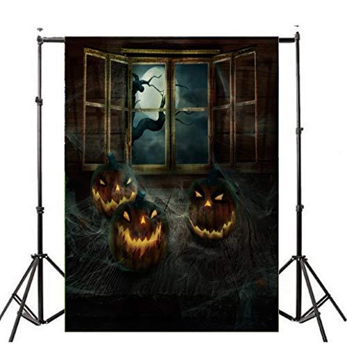VEMOW Heißer Halloween Backdrops Kürbis Vinyl 3x5FT Laterne Hintergrund Blackout Fotografie Studio 90x150cm(Mehrfarbig, 90x150cm) -