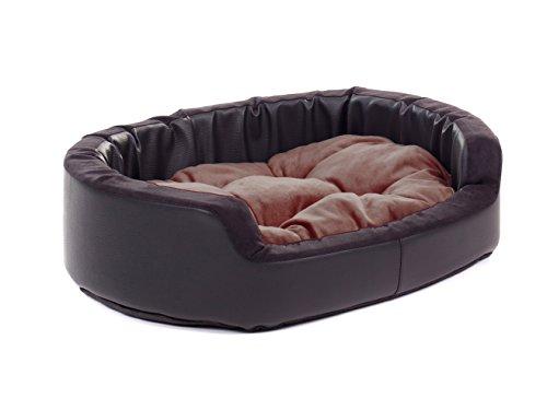 4L Textil Hugo Hundekorb Hundesofa Hundebett S M L XL XXL (60x50, Braun)