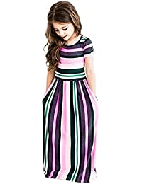 Internet_Kids Clothes Girls Dresses For 2-8 Years,Internet Toddler Baby Girls Striped Long