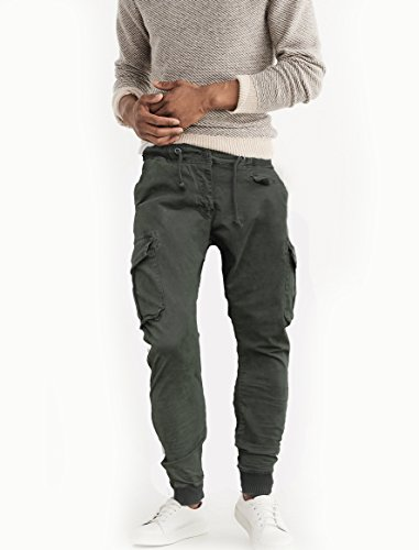 Fun coolo pantaloni lunghi uomo cargo con tasconi laterali, slim fit