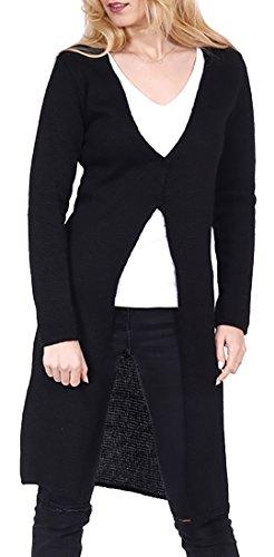 Mikos* Damen Strickjacke Long Lang Pullover Cardigan Langarm Frühling Spring StrickPulli 36 38 40 40 S M L XL (680) (Schwarz, 42)
