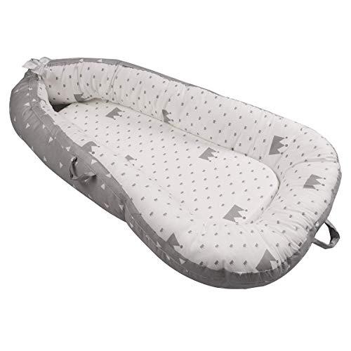 Luchild baby nest riduttore per letto culla sacco nanna per neonati, multifunzionale lettino da viaggio (crown gray)