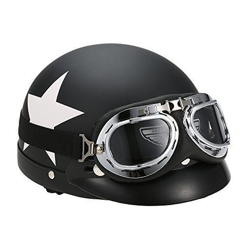 KKmoon Casco Abierto Motocicleta Gafas Visera Bufanda