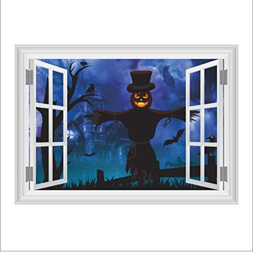 Halloween dekoration 3D fenster vogelscheuche wandaufkleber für kinderzimmer wohnkultur wohnzimmer wandbild dekoration 50 * 70 cm