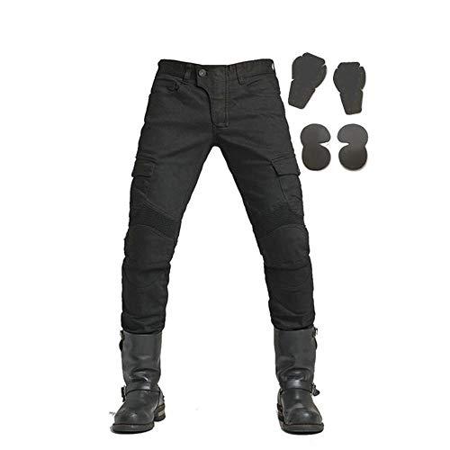 Reiten Jeans (WildBee Demin Motorrad Reiten Hose Rennen Jeans Fahrrad Schwarz Hose Männer mit Abnehmbaren Pads)