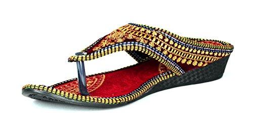 Femme Royale Rajasthani/ Jaipuri Ethnic Golden Zari Embroidery Work Chappal Sandal